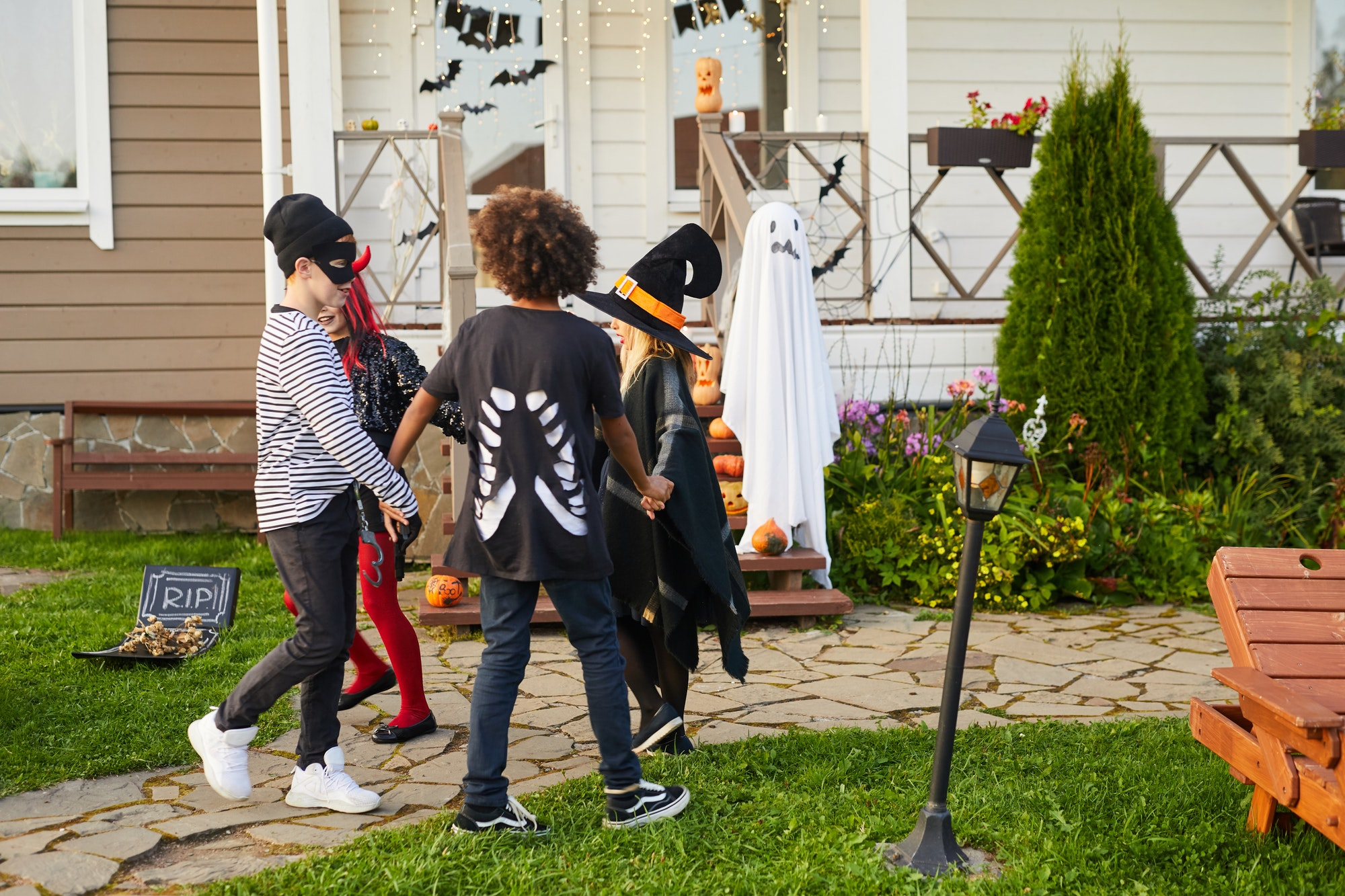 Kids Playing Halloween Games Outdoors